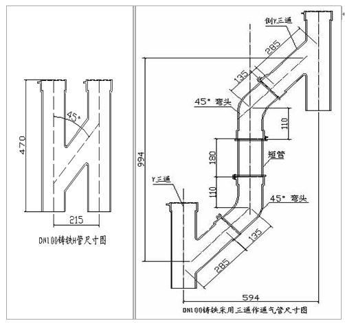 强度高 三通铸铁排水管特点:重量轻,管壁薄,壁厚均匀,内外壁光滑,结构